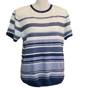 Alfred Dunner Striped Short Sleeve Sweater